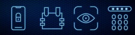 Set line Eye scan, Mobile with closed padlock, Bulletproof vest and Password protection. Glowing neon icon on brick wall. Vector Vectores