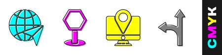 Set Globe with flying plane, Road traffic sign, Monitor with location marker and Road traffic sign icon. Vector
