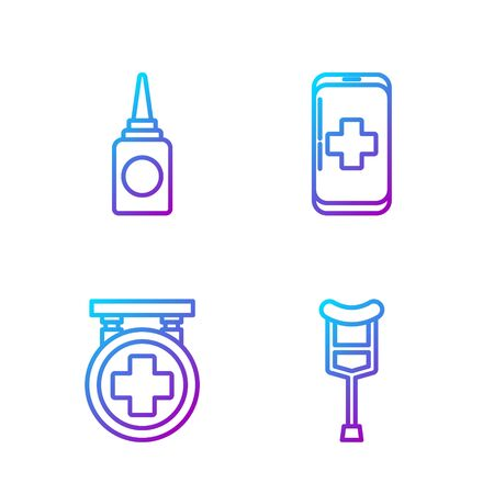 Set line Crutch or crutches, Hospital signboard, Bottle nasal spray and Emergency mobile phone call to hospital. Gradient color icons. Vector
