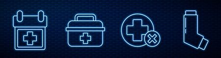 Set line Cross hospital medical, Doctor appointment, First aid kit, Inhaler and Map pointer with cross hospital. Glowing neon icon on brick wall. Vector Vectores