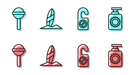 Set line Please do not disturb, Lollipop, Surfboard and Sunscreen spray bottle icon. Vector Ilustracja