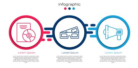 Set line CD or DVD disk, 3D cinema glasses and Megaphone. Business infographic template. Vector