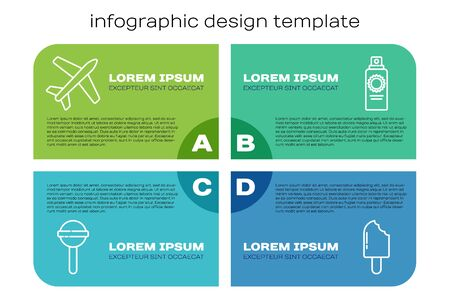 Set line Lollipop, Plane, Ice cream and Sunscreen spray bottle. Business infographic template. Vector Ilustracja
