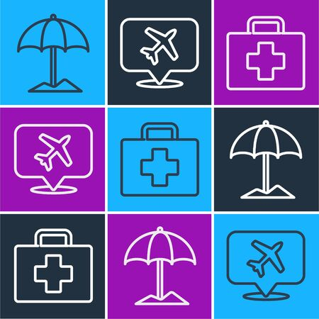 Set line Sun protective umbrella for beach, First aid kit and Speech bubble with airplane icon. Vector