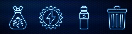 Set line Bottle of water, Garbage bag with recycle, Solar energy panel and Trash can. Glowing neon icon on brick wall. Vector