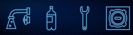 Set line Wrench spanner, Water tap, Bottle of water and Manhole sewer cover. Glowing neon icon on brick wall. Vector Vectores