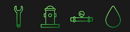 Set line Industry pipe and manometer, Wrench spanner, Fire hydrant and Water drop. Gradient color icons. Vector