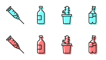 Set line Cactus peyote in pot, Syringe, Alcohol drink bottle and Bong for smoking marijuana icon. Vector