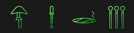 Set line Cigar with smoke, Psilocybin mushroom, Pipette and Matches. Gradient color icons. Vector