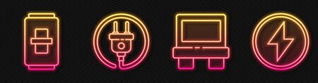 Set line Fuse, Electric light switch, Electric plug and Lightning bolt. Glowing neon icon. Vector Иллюстрация