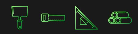 Set line Triangular ruler, Putty knife, Hand saw and Industry metallic pipe. Gradient color icons. Vector