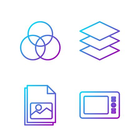 Set line Graphic tablet, Picture landscape, RGB and CMYK color mixing and Layers. Gradient color icons. Vector
