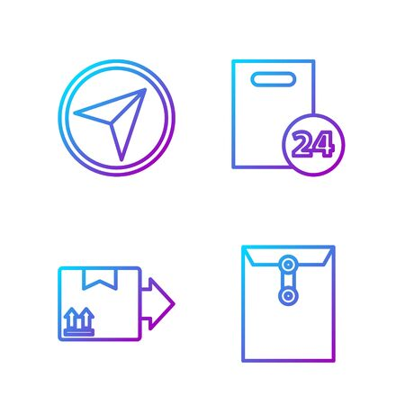 Set line Envelope, Cardboard box with traffic symbol, Infographic of city map navigation and Delivery with cardboard boxes. Gradient color icons. Vector Vectores