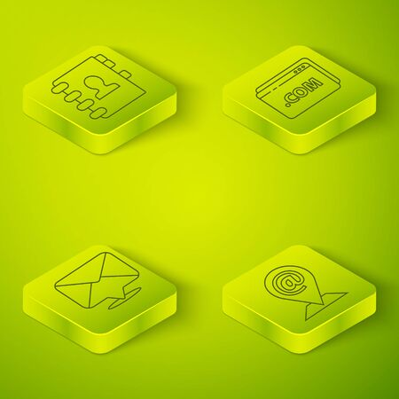 Set Isometric Website template, Envelope, Location and mail and e-mail and Address book icon. Vector