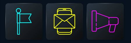 Set line Location marker, Megaphone and Mobile and envelope. Black square button. Vector