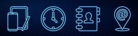 Set line Address book, Phone and graphic tablet, Clock and Location and mail and e-mail. Glowing neon icon on brick wall. Vector