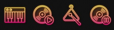 Set line Triangle musical instrument, Music synthesizer, Vinyl disk and Vinyl disk. Glowing neon icon. Vector
