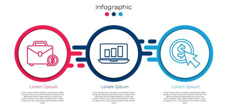 Set line Briefcase and money, Laptop with graph chart and Cursor and coin. Business infographic template. Vector