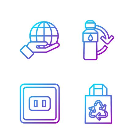 Set line Paper bag with recycle, Electrical outlet, Hand holding Earth globe and Recycling plastic bottle. Gradient color icons. Vector