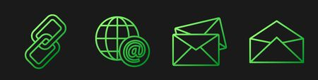 Set line Envelope, Chain link, Earth globe with mail and Envelope. Gradient color icons. Vector