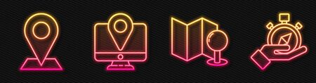 Set line Folded map with push pin, Location, Monitor with location marker and Compass. Glowing neon icon. Vector Vectores