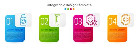 Set line Bottle of medicine syrup, Test tube and flask, Shield and heart rate and Medical shield with cross. Business infographic template. Vector 向量圖像