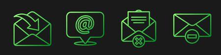 Set line Delete envelope, Envelope, Mail and e-mail on speech bubble and Delete envelope. Gradient color icons. Vector