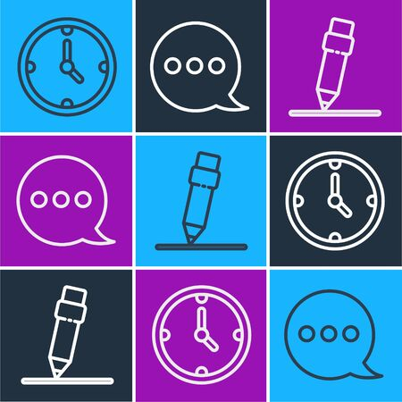 Set line Clock, Pencil with eraser and Speech bubble chat icon. Vector Vettoriali