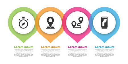 Set Compass, Location, Route location and City map navigation. Business infographic template. Vector