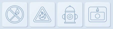 Set line No fire match, Fire hydrant, Fire flame in triangle and Fire alarm system. White square button. Vector