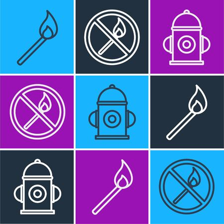 Set line Burning match with fire, Fire hydrant and No fire match icon. Vector
