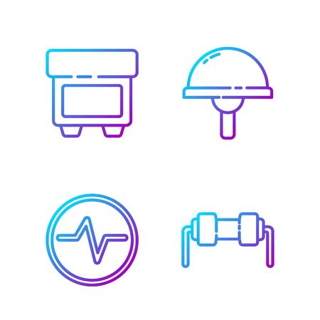 Set line Resistor electricity, Electric circuit scheme, Fuse and Light emitting diode. Gradient color icons. Vector Иллюстрация