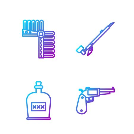 Set line Revolver gun, Alcohol drink Rum bottle, Indian headdress with feathers and Native American indian smoking pipe. Gradient color icons. Vector