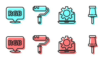 Set line Laptop and gear, Speech bubble with RGB and CMYK, Paint roller brush and Push pin icon. Vector 일러스트