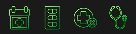 Set line Cross hospital medical, Doctor appointment, Pills in blister pack and Stethoscope. Gradient color icons. Vector