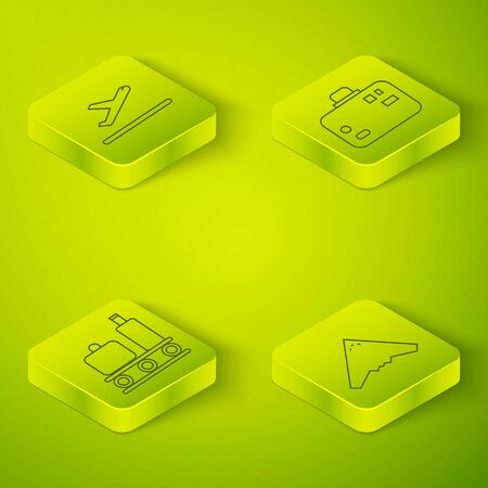 Set Isometric Suitcase, Airport conveyor belt with suitcase, Jet fighter and Plane takeoff icon. Vector