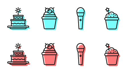 Set line Karaoke microphone, Cake with burning candles, Cake and Cake icon. Vector Vectores