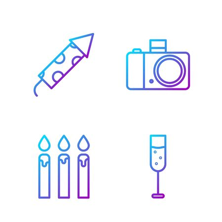 Set line Glass of champagne, Birthday cake candles, Firework rocket and Photo camera. Gradient color icons. Vector Иллюстрация