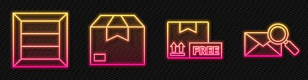 Set line Cardboard box with free symbol, Wooden box, Carton cardboard box and Envelope with magnifying glass. Glowing neon icon. Vector