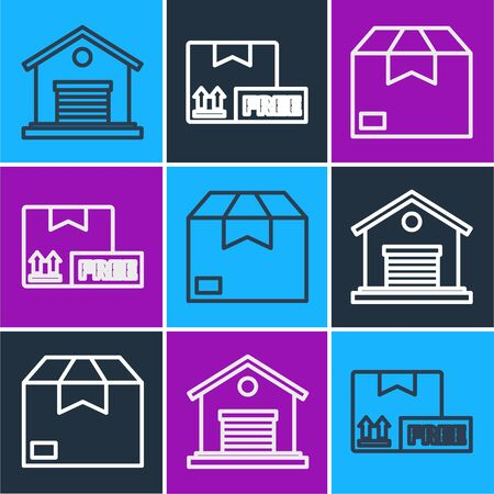 Set line Warehouse, Carton cardboard box and Cardboard box with free symbol icon. Vector Иллюстрация