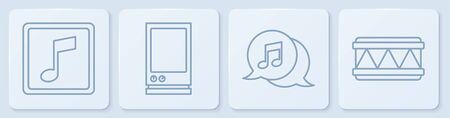 Set line Music note, tone, Musical note in speech bubble, Voice assistant and Drum. White square button. Vector
