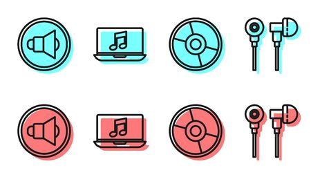 Set line CD or DVD disk, Speaker volume, Laptop with music note and Air headphones icon. Vector Ilustração