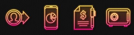 Set line Contract money and pen, Job promotion, Mobile phone with graph chart and Safe. Glowing neon icon. Vector