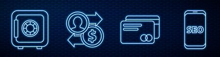 Set line Credit card, Safe, Job promotion exchange money and Mobile phone SEO optimization. Glowing neon icon on brick wall. Vector