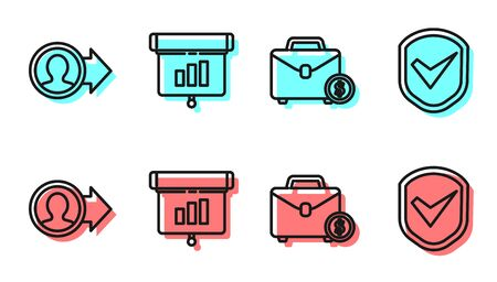 Set line Briefcase and money, Job promotion, Graph, chart, diagram, infographic and Shield with check mark icon. Vector
