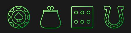 Set line Game dice, Casino chips, Wallet and Horseshoe. Gradient color icons. Vector