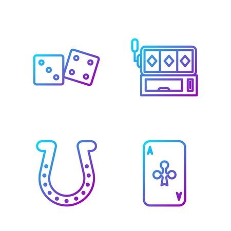 Set line Playing card with clubs, Horseshoe, Game dice and Slot machine. Gradient color icons. Vector Vectores