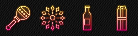 Set line Beer bottle, Maracas, Firework and Gift box. Glowing neon icon. Vector