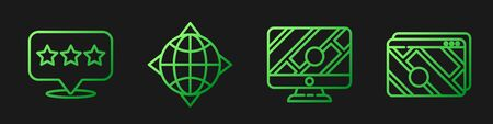 Set line Monitor with location marker, Map pointer with star, World globe with compass and Infographic of city map navigation. Gradient color icons. Vector