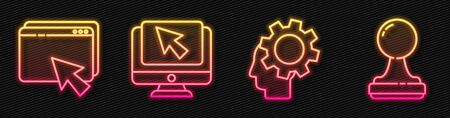 Set line Human head with gear inside, Web design and development, Computer monitor and cursor and Stamp. Glowing neon icon. Vector